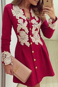 V Neck  Decorative Lace  Lace Plain  Long Sleeve Skater Dresses red 2xl