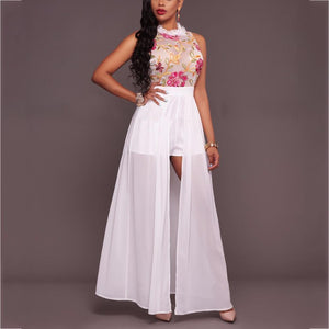 Sleeveless Perspective Embroidered Evening Dress pink l