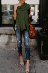 Off Shoulder  Asymmetric Hem  Plain T-Shirts coffee l