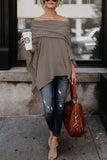 Off Shoulder  Asymmetric Hem  Plain T-Shirts coffee xs