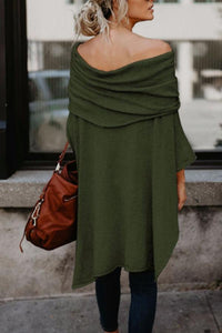 Off Shoulder  Asymmetric Hem  Plain T-Shirts coffee m