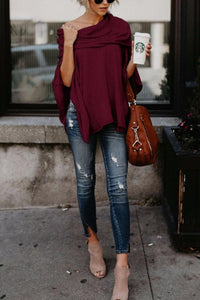Off Shoulder  Asymmetric Hem  Plain T-Shirts coffee 3xl