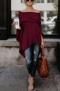 Off Shoulder  Asymmetric Hem  Plain T-Shirts coffee xl