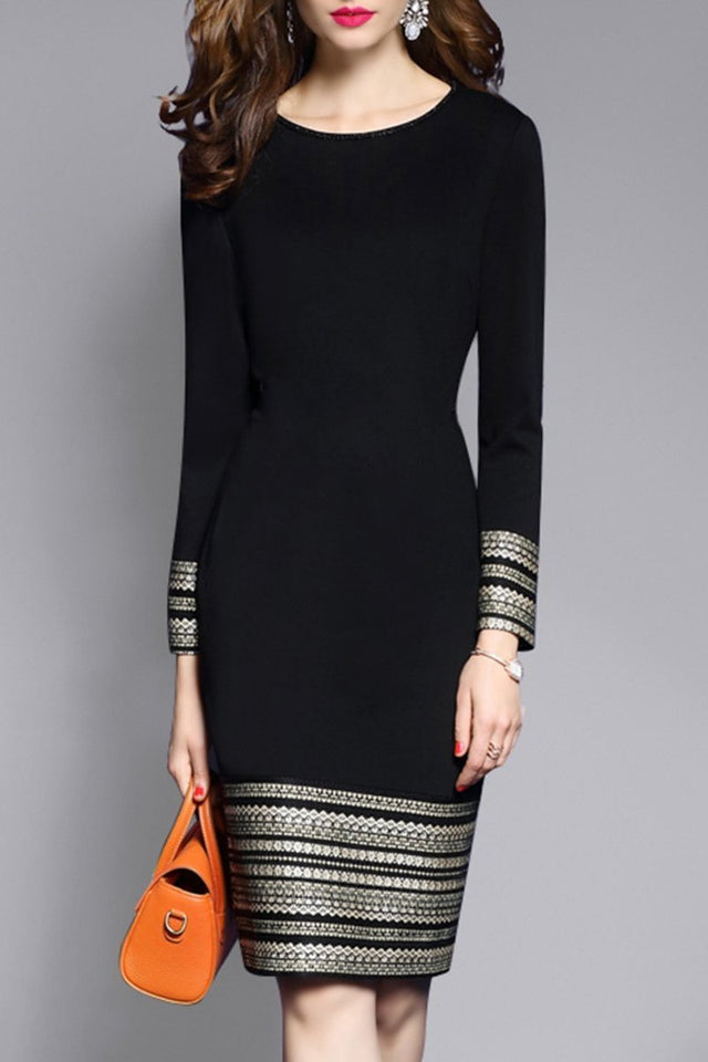 Round Neck  Plain  Blend Bodycon Dress black s