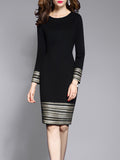 Round Neck  Plain  Blend Bodycon Dress black m