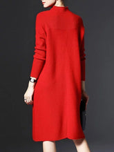 High Neck Plain Knitted Shift Dresses