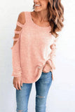Round Neck  Hollow Out Plain Stylish T-Shirts pink xs