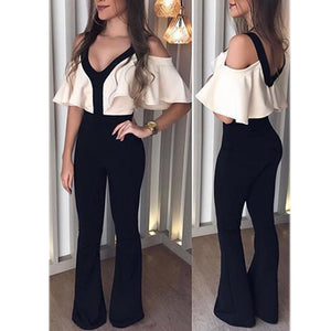 Sexy V-Neck Slimming Jumpsuit black m