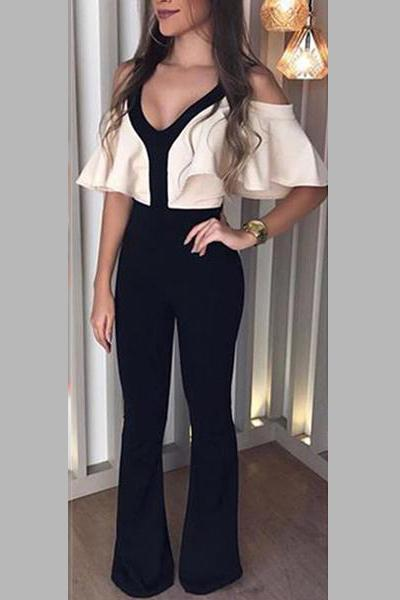 Sexy V-Neck Slimming Jumpsuit black s