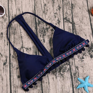 Bohemia Style Sexy Halter Swimsuit blue l