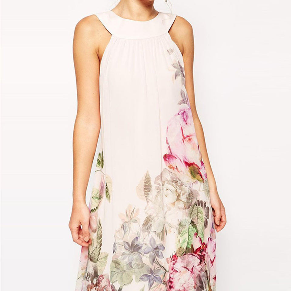 Long Printed Floral Vacation Dress white s