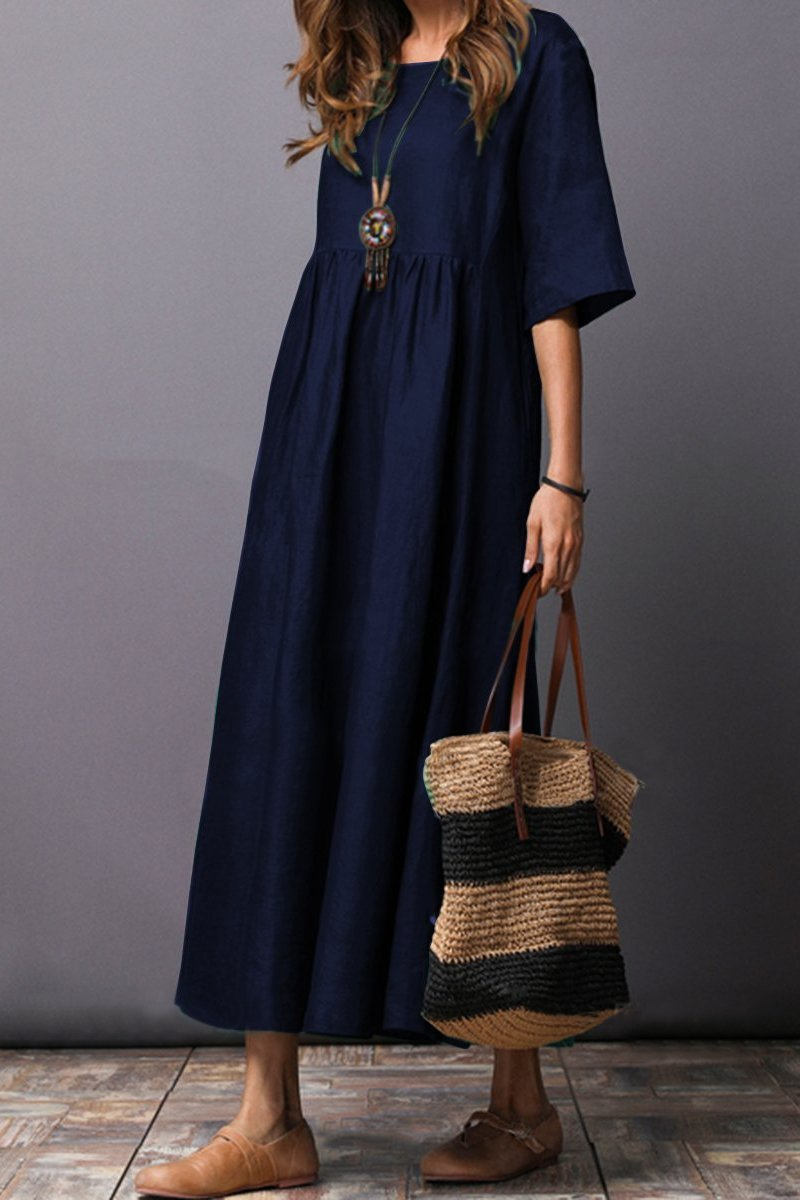 Round Neck  Plain  Cotton\/Linen Maxi Dress dark blue 2xl