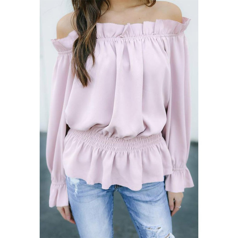 Off Shoulder  Elastic Waist Ruffle Trim  Plain Bell Sleeve Blouses purple m
