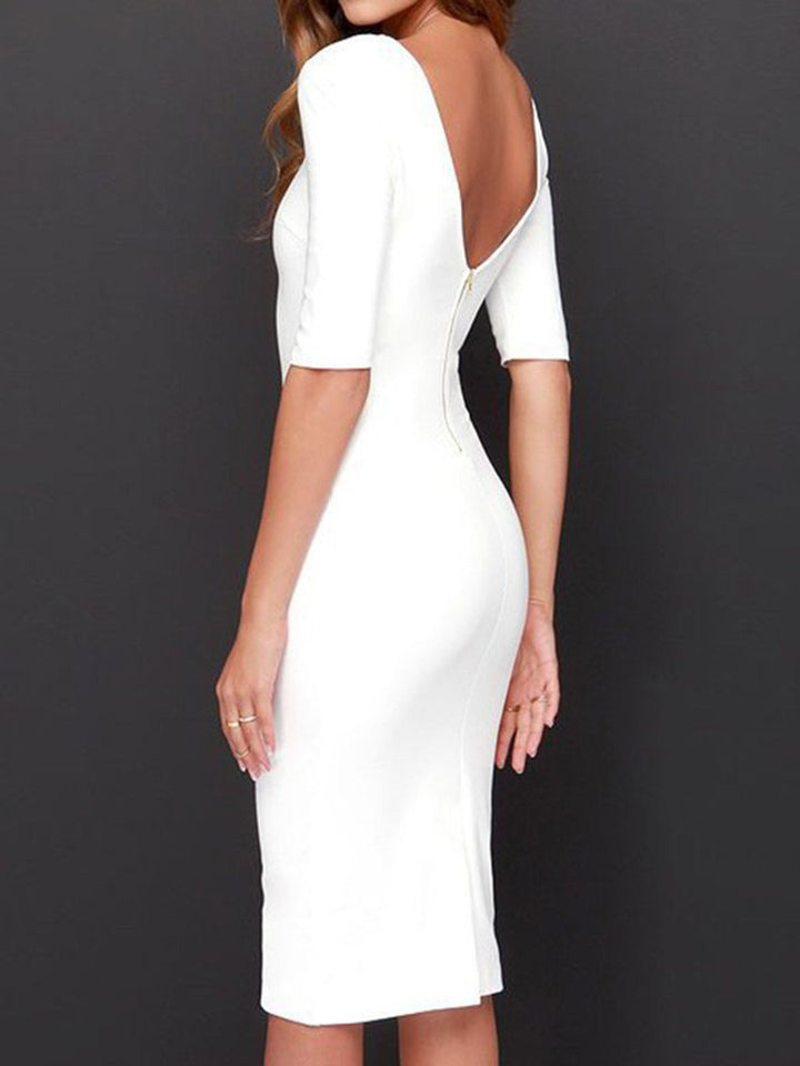 Boat Neck  Plain  Blend Bodycon Dress white m