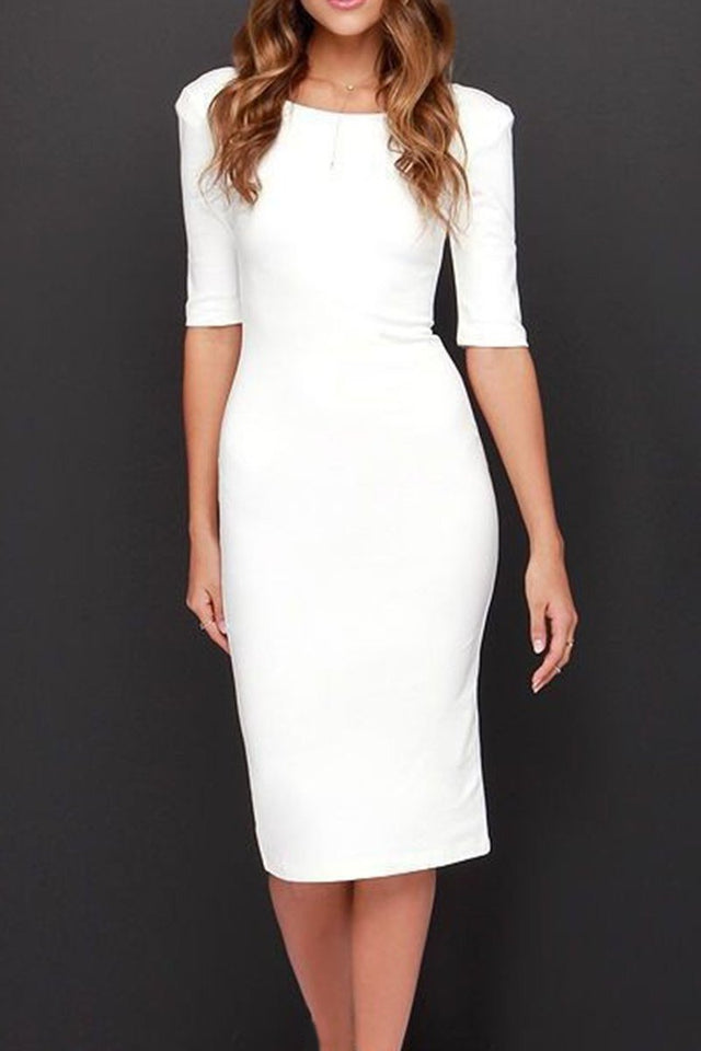 Boat Neck  Plain  Blend Bodycon Dress white s