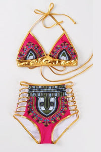 Bohemia Ethnic Style Sexy Swimwear purple l