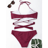 Ruffle Sexy Cross Strap Swimwear Set claret_red 2xl