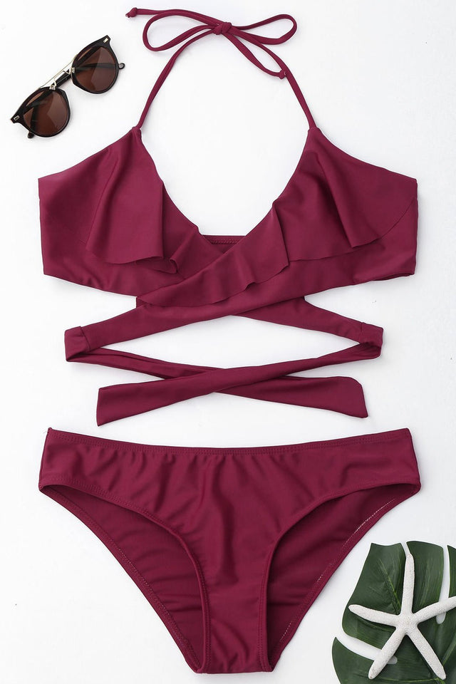 Ruffle Sexy Cross Strap Swimwear Set claret_red xl
