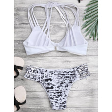 Printed Back Straps Bikini Set Swimwear