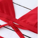 Red Halter Bikini Set Swimwear For Women red xl
