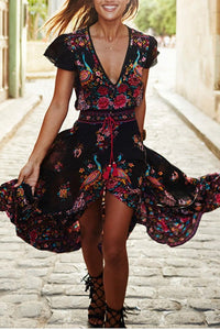 Spring Sexy V Collar Short-Sleeved Retro Printed Expansion Vacation Dress Multi s
