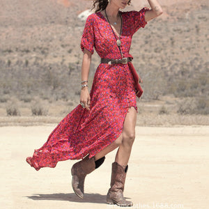 Floral Printed Sexy V Collar Split Long Vacation Dress claret_red m
