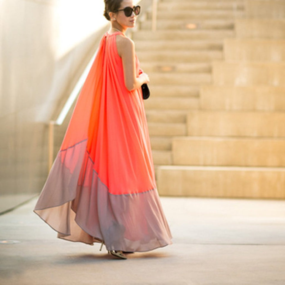 Fashionable Stitching Sleeveless Expansion Irregular Vacation Dress orange l
