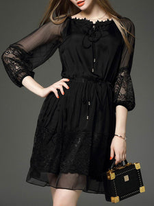 Boat Neck Patchwork See-Through Plain Skater Dress black 3xl