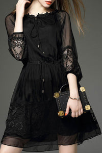 Boat Neck Patchwork See-Through Plain Skater Dress black s