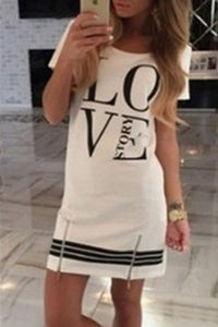 Round Neck  Zipper  Letters  Short Sleeve Casual Dresses white s