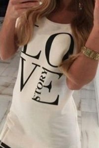 Round Neck  Zipper  Letters  Short Sleeve Casual Dresses black l