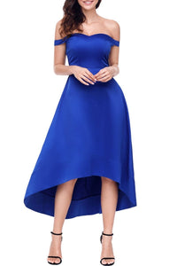Off Shoulder Plain High-Low Skater Dress blue s