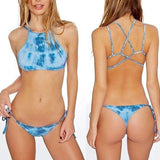 Sexy Straps Blue Denim Bikini Swimwear blue m