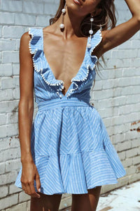 Deep V Neck  Backless Ruffle Trim  Striped  Sleeveless Skater Dresses sky_blue l