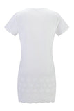 V Neck  Hollow Out Plain  Short Sleeve Casual Dresses white l