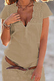 V Neck  Hollow Out Plain  Short Sleeve Casual Dresses khaki m