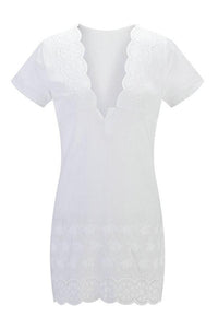 V Neck  Hollow Out Plain  Short Sleeve Casual Dresses white m