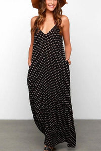 Bohemia Polka Dot Strap Beach Vacation Dress With Pockets black m