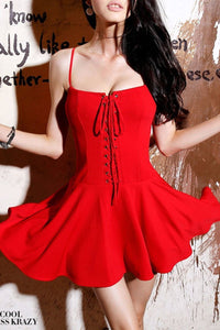 Sexy Spaghetti Strap Lace-Up Plain Mini Skater Dress red one size