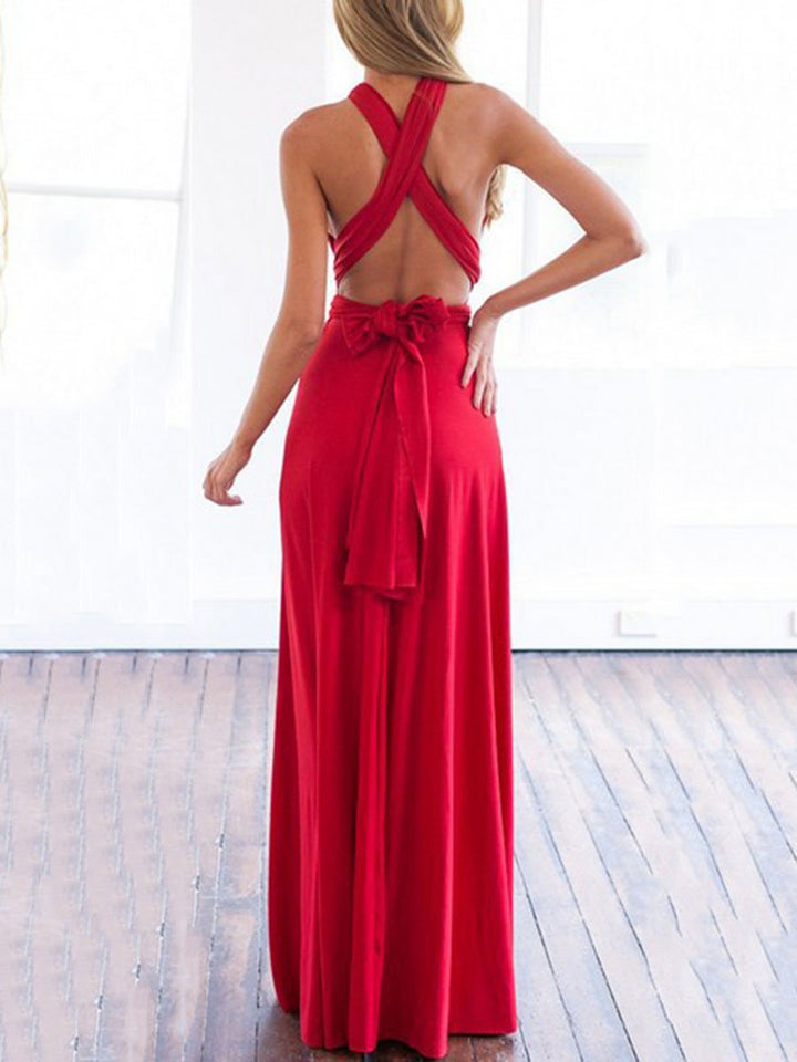 Multi-Way Plain Empire Evening Dress red m