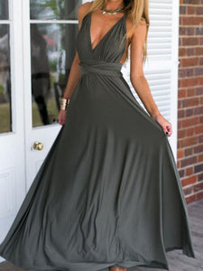 Multi-Way Plain Empire Evening Dress black xl