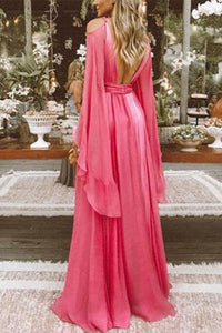 Sexy Deep V Collar Long-Sleeved Long Expansion Vacation Dress rose l