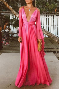 Sexy Deep V Collar Long-Sleeved Long Expansion Vacation Dress rose s