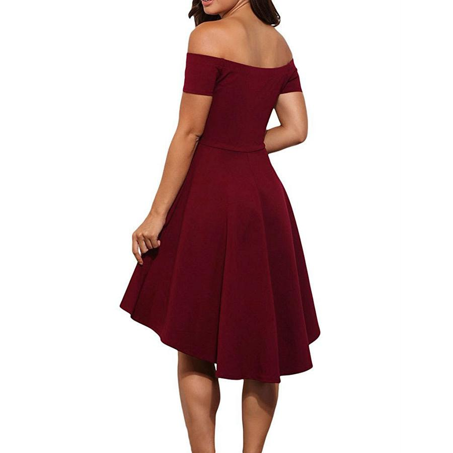 Elegant Pure Color Off Shoulder Mini Dress claret_red m