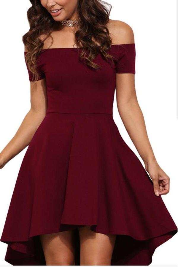 Elegant Pure Color Off Shoulder Mini Dress claret_red s