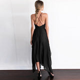 Elegant Pure Color Short Sleeves Maxi Dress black xl
