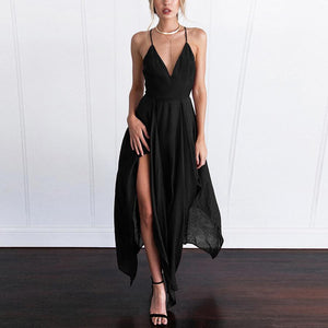 Elegant Pure Color Short Sleeves Maxi Dress black l
