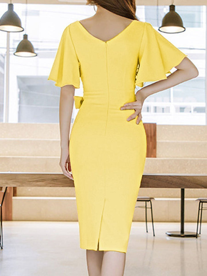 Surplice  Plain Bodycon Dress yellow 5xl