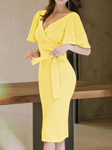Surplice  Plain Bodycon Dress yellow 4xl