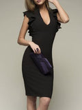 Deep V-Neck  Plain Bodycon Dress gray 3xl